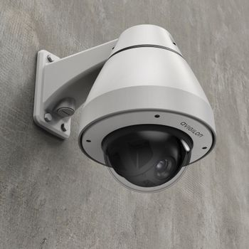 H5A-PTZ Camera with Wall Arm (right ¾ view)