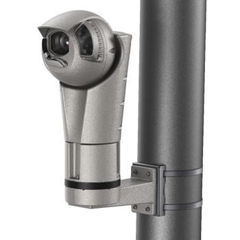 H5A Rugged PTZ with Pole Mount Adaptor (left ¾ view)